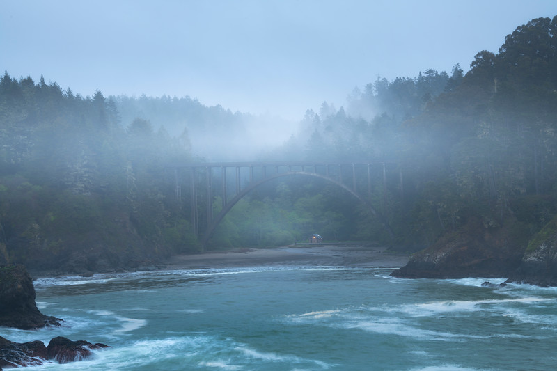 Mist Rising From Inside The Cove - Russian Gulch Bridge Viewpoint, Mendocino, California