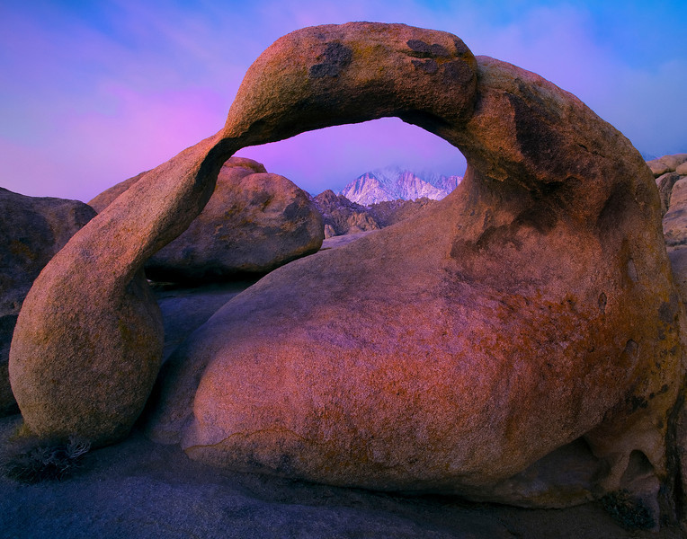 First Twilight Over The Sierras And Mobius Arch - Alabama Hills, Californiaills, California