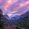 Sunrise Streaks Above The Yosemite Valley - Lower Yosemite Valley, Yosemite National Park, CA