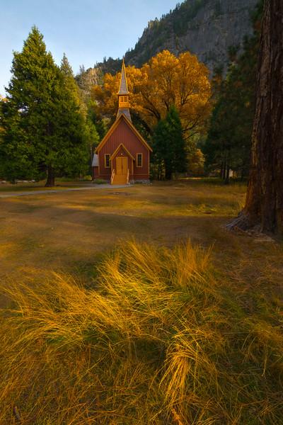 Yosemite Chapel And Streaking Light - Lower Yosemite Valley, Yosemite National Park, California