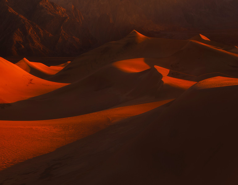 The Warmth Of Light On Sand Dune Peaks - Death Valley National Park, California