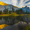 Both El Captain And Three Brothers From Tahiti Beach - Lower Yosemite Valley, Yosemite National Park, CA