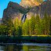Last Light Shines On BridalVeil Falls - Yosemite National Park, Sierra Nevadas, California
