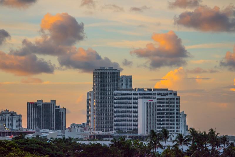 The Miami Skyline At Sunset - Downtown Miami, Florida