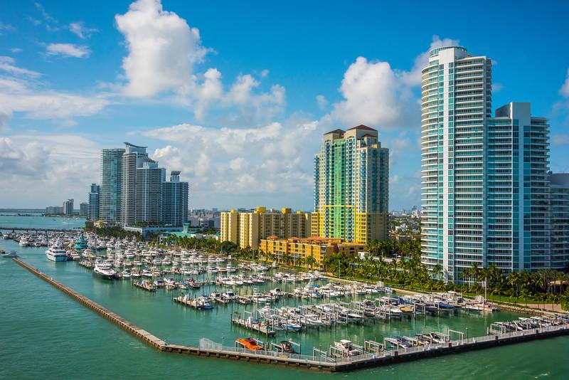 Miami Marina And Bisycane Bay - Downtown Miami, Florida