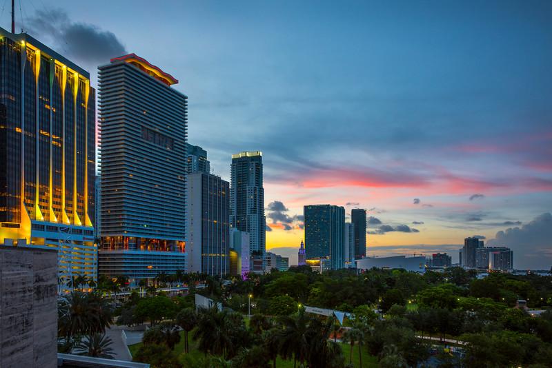 Night Falls Over Miami Skyline - Downtown Miami, Florida