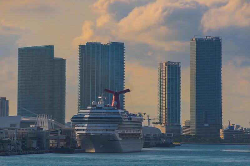 Cruise Ship And Backdrop Of Miami High Rises -  Miami Pier, Florida
