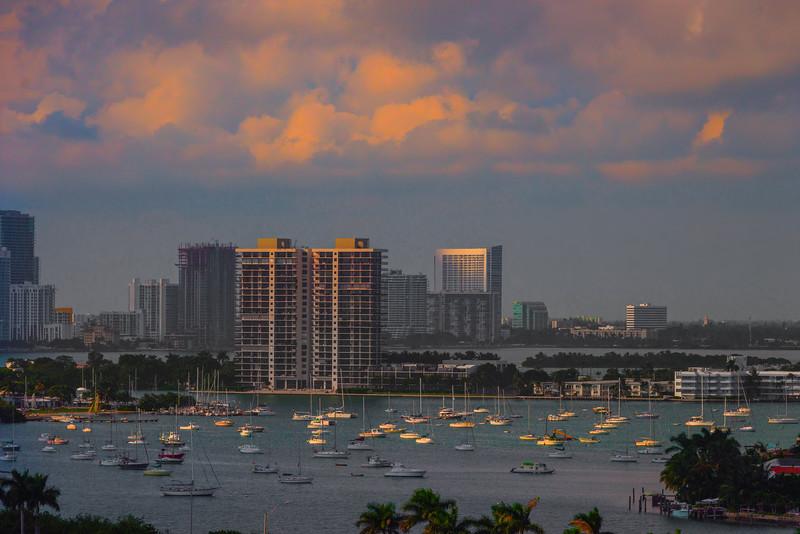 Last Light In Miami Marina -  Miami Pier, Florida