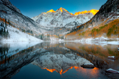 Maroon Bells Sunrise In Winter - Maroon Bells Wilderness, Aspen, Colorado