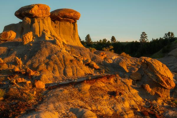 Late Light On The Twin Hoodoos - Makoshika State Park, Glendive, Eastern Montana
