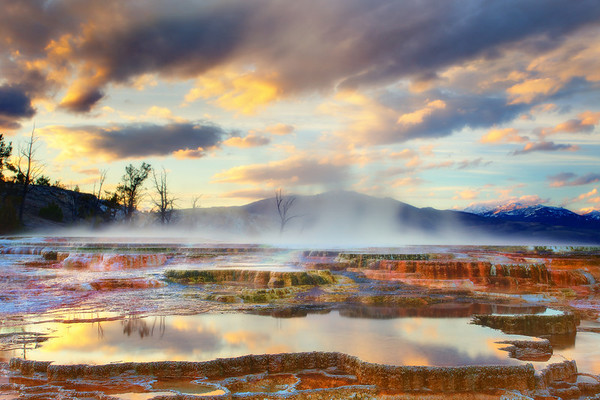 Mammoth Hot Springs Sunset - Yellowstone National Park, Wyoming
