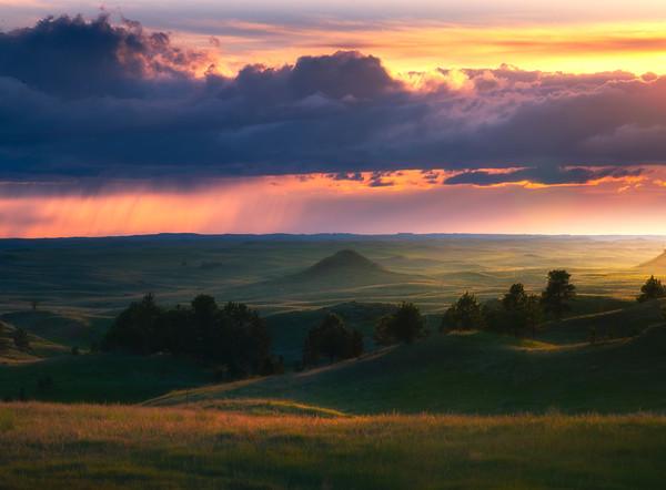 Sunset Storm Clouds On Medicine Rocks - Medicine Rocks State Park, Eastern Montana