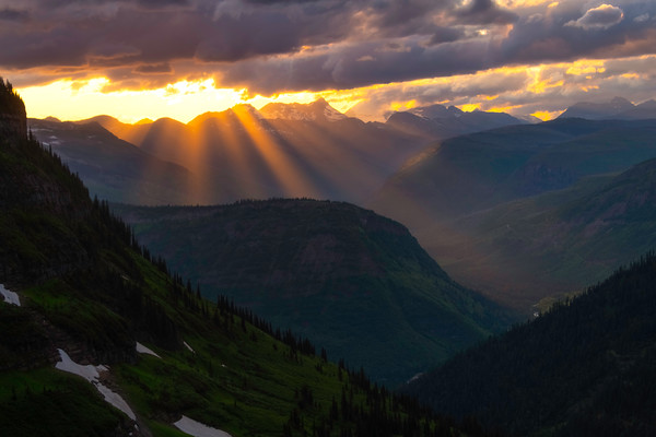 Sunray Light Kissing Off The Peaks - Going To The Sun Road, Glacier National Park, Montana