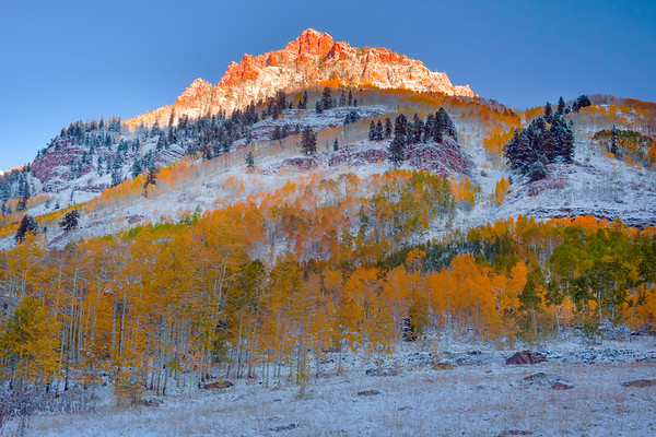 Firdt Light On The Peaks - Maroon Bells-Snowmass Wilderness, Aspen, Colorado