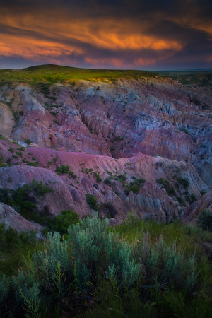 Twilight Orange Reflecting Into Canyon Casper, Wyoming