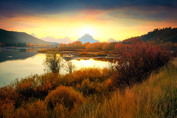 Oxbow Bend As Sun Sets Behind Mt Moran - Grand Teton National Park, WY