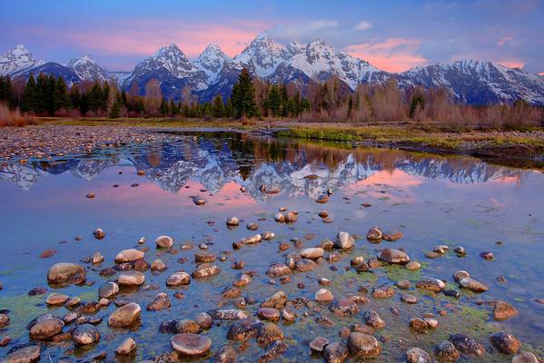 Grand Teton Sunrise - Near Schwabacher Landing, Grand Teton National Park, Wyoming