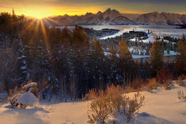 Sunburst Wide Angle From Snake River - Snake River Overlook, Grand Teton National Park, Wyoming