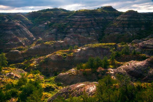 Rolling Hills And Valleys Of Color Badlands - Makoshika State Park, Glendive, Eastern Montana