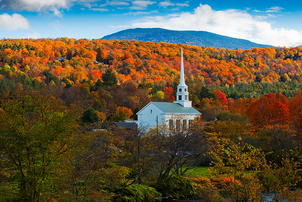 Fall Colors Surround Stowe Church - Stowe, Vermont