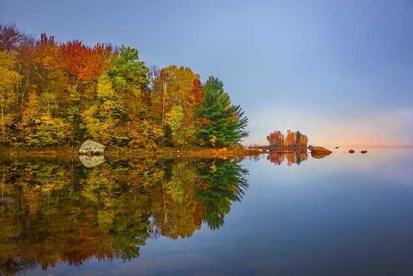 Morning Soft Light Warms The Distant Island - Vermont