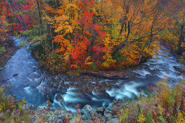 Horseshoe Bend in Autumn  - Smuggler's Notch, Vermont