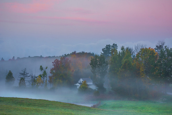 Early Morning Twilight Color On This Rural House - Vermont