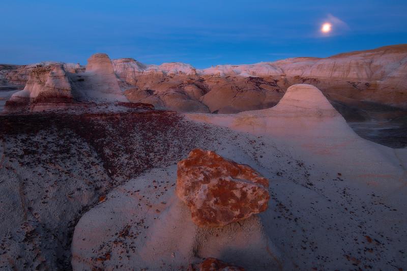 Mushroom Hoodoos Under The Moonlight -  Bisti/De-Na-Zin Wilderness, New Mexico