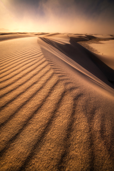 Sunset In A Wind Storm In The Dunes - White Sands National Monument, New Mexico