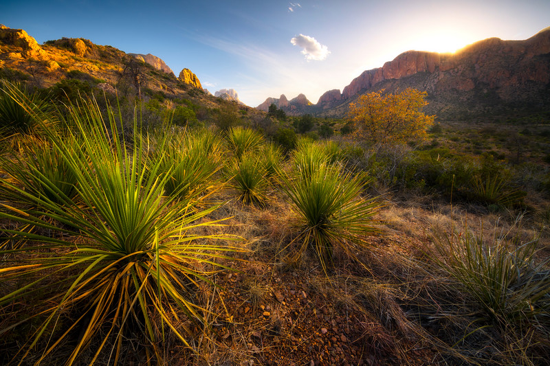 Sun Disappearing Behind The Chisos Range - Big Bend National Park, Texas