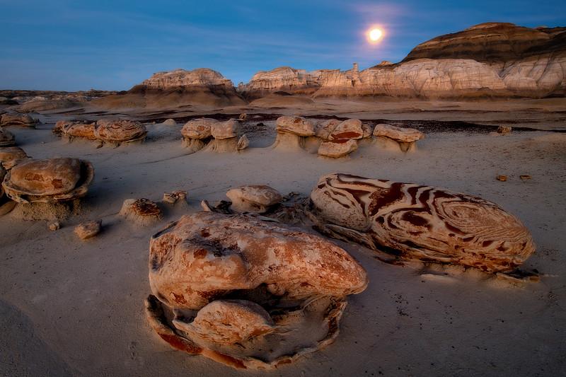 The Egg Hatchery Under The Full Moon -  Bisti/De-Na-Zin Wilderness, New Mexico