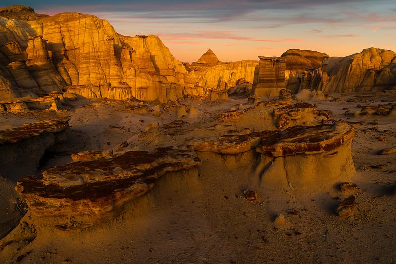 Stacked Pillars Guarding -  Bisti/De-Na-Zin Wilderness, New Mexico
