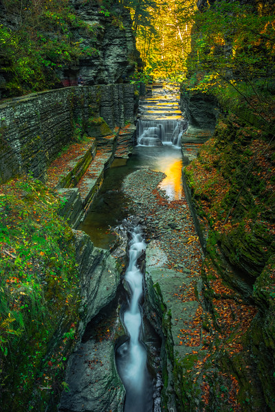 Water Cracks Through Canyon Walls - - Robert Treman Park, Finger Lakes Region, Upstate NY, NY