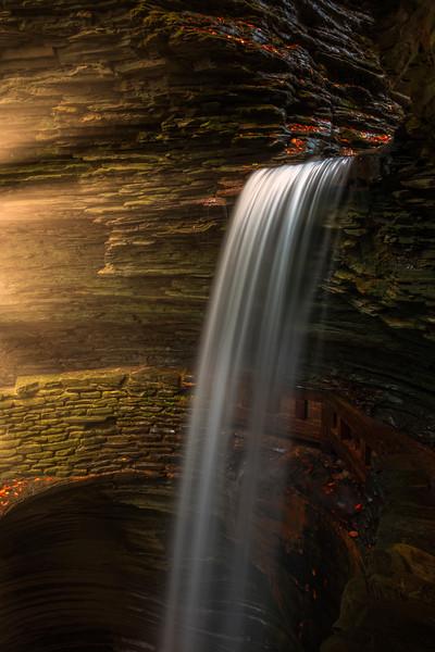 Late Light Entering Canyon Watkins Glen State Park, Finger Lakes Region, Upstate New York, NY