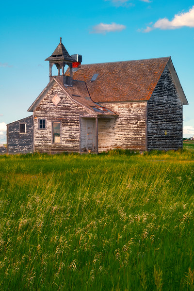 Afternoon Light On The Grenora Schoolhouse - Grenora, Little Missouri, North Dakota