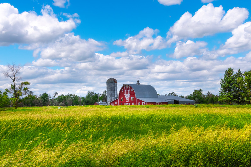 Layers Of Spring Alongside Red Barn
