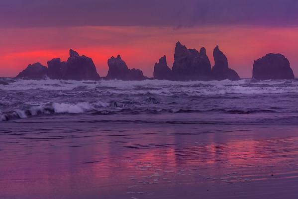 A Row Of Twilight Haystacks - - Bandon Beach, Oregon Coast, Oregon