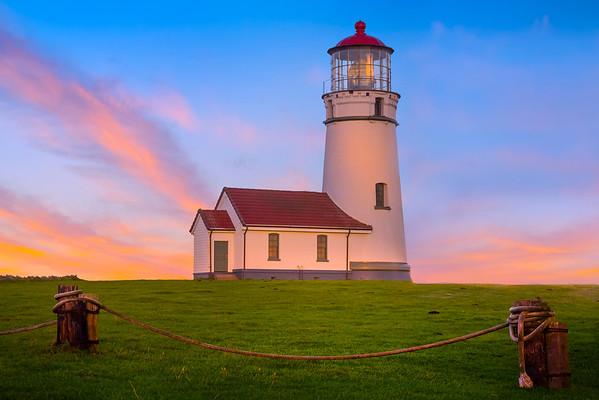 Pink Sunrise Above Cape Blanco Lighthouse - Oregon Coast, Oregon