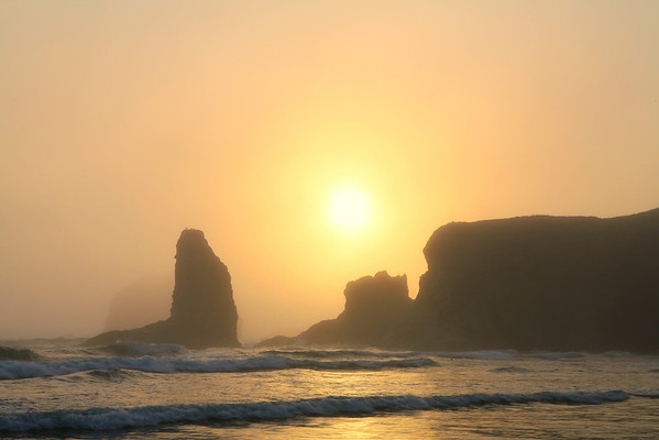 Sun Making Its Move To Breakthrough - Bandon Beach, Oregon Coast, Oregon