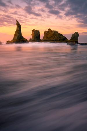 Morning Warmth Of Light Across The Rushing Waves - Bandon Beach, Oregon Coast