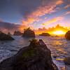 Sun Touchdown On Horizon -Secret Beach, Southern Oregon Coast, Oregon