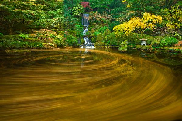 Circles Of Color At The Gardens - Portland Japanese Garden, Oregon