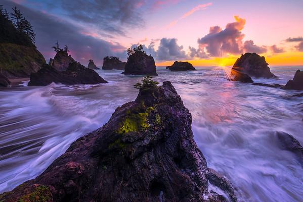 Streaking Waves At Twilight -Secret Beach, Southern Oregon Coast, Oregon