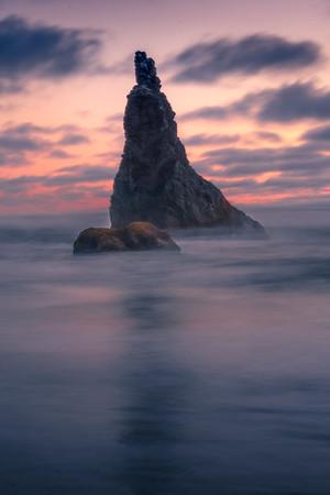 Twilight Pinks Settle Over Bandon - Bandon Beach, Oregon Coast
