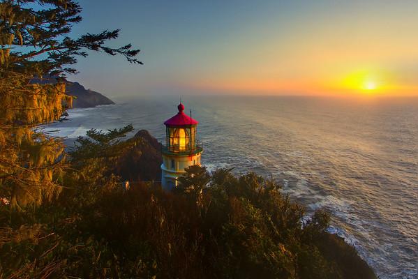 From High Above Looking Over Heceta Head - Heceta Head Lighthouse, Oregon Coast, Oregon