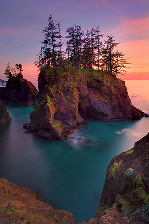 Sunset Over The Haystack Rocks Of Samuel Boardman - Samuel Boardman State Park, Oregon Coast, Oregon