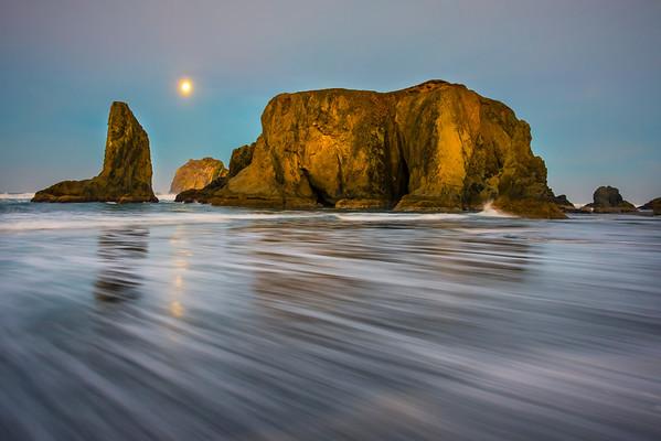 Power Of The Ocean And The Full Moon - - Bandon Beach, Oregon Coast, Oregon