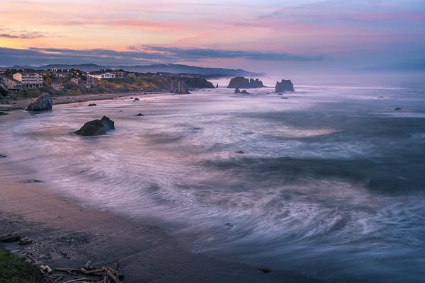 A Beautiful Morning Over The Town Of Bandon - Bandon Beach, Oregon Coast