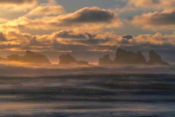 Warm Sun Bathing The Surface Waves Of Bandon - Bandon Beach, Oregon Coast