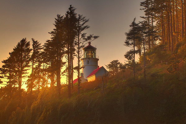 Diffused Light Breaks Through At Sunset - Heceta Head Lighthouse, Oregon Coast, Oregon